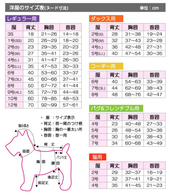 犬服の選び方はどうすればいいの?ポンポリース サイズリスト